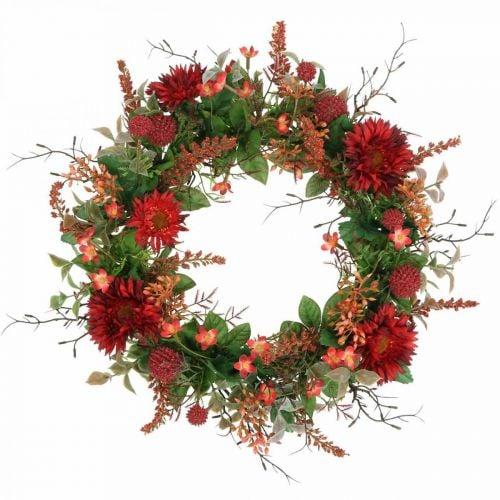 Couronne d'automne fleurs en soie gerbera rouge chardon couronne de porte Ø42cm