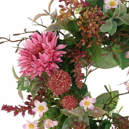 Couronne d'automne fleurs en soie rose gerbera chardon couronne de table Ø32cm