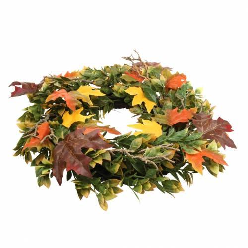 Guirlande de feuilles d'automne artificiellement verte, jaune, orange Ø45cm