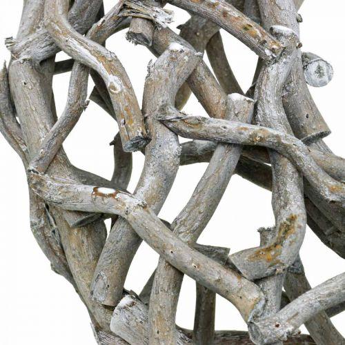 Couronne décorative en bois, gris cérusé, décoration de table couronne naturelle Ø50cm