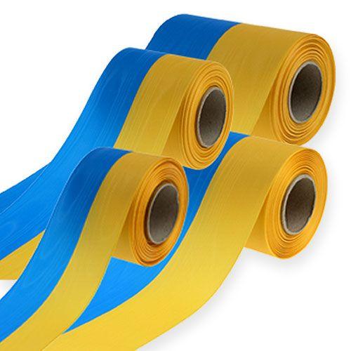 Rubans pour couronne moirés bleu-jaune