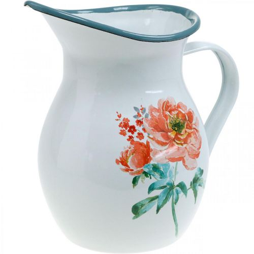 Pichet décoratif, vase à fleurs aspect vintage, pichet en émail motif rose H19cm