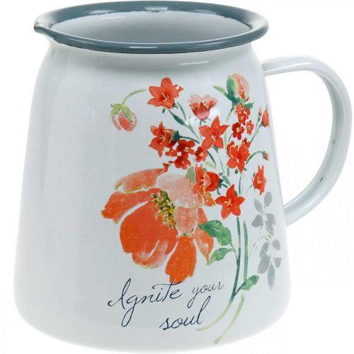 Cruche décorative aux roses sauvages, cruche en émail, vase en métal look vintage H12.5cm