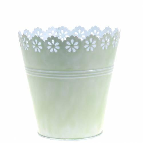 Cache-pot ornement floral vert clair Ø 12,5 cm H. 13,5 cm