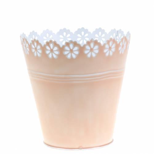 Cache-pot ornement floral rose Ø 12,5 cm H. 13,5 cm