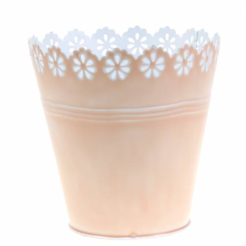 Cache-pot ornement floral rose Ø 15 cm H. 15 cm