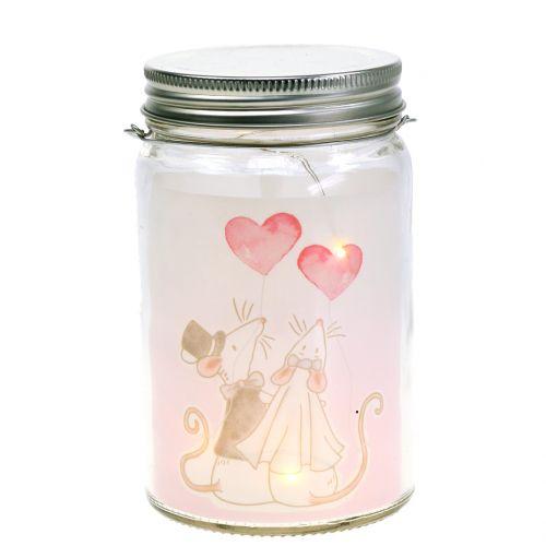Lanterne LED en verre nuptiale souris de couple Ø8cm H14cm