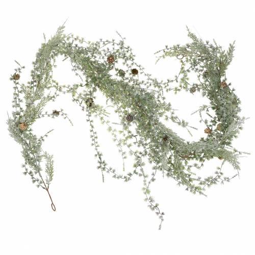 Guirlande de mélèze verte / glacée avec cônes 180cm