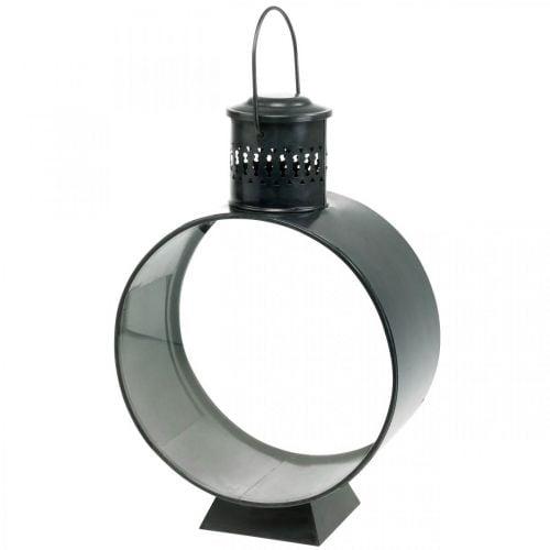 Lanterne décorative ronde, décoration bougie rustique, vent en métal Ø20cm H30cm