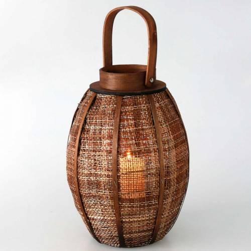 Lanterne tressée, décoration bougie, lanterne en bois avec anse Ø25cm H34,5cm