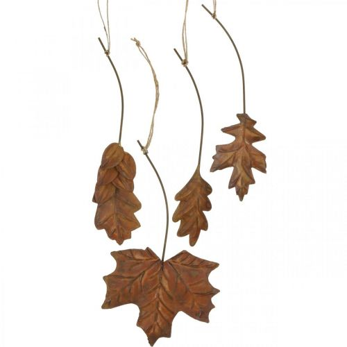 Feuilles en métal pour accrocher des feuilles d'automne brun rouille 7.5-10cm 4pcs