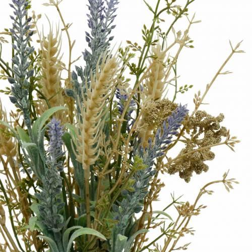 Bouquet de lavande artificielle, fleurs en soie, bouquet de lavande des champs avec épis de blé et reine des prés