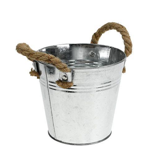 Seau en métal avec anses en corde brillant Ø16cm