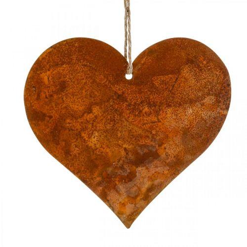 Coeurs en métal, pendentifs décoratifs, décoration rouille 19 × 20 cm 4pcs