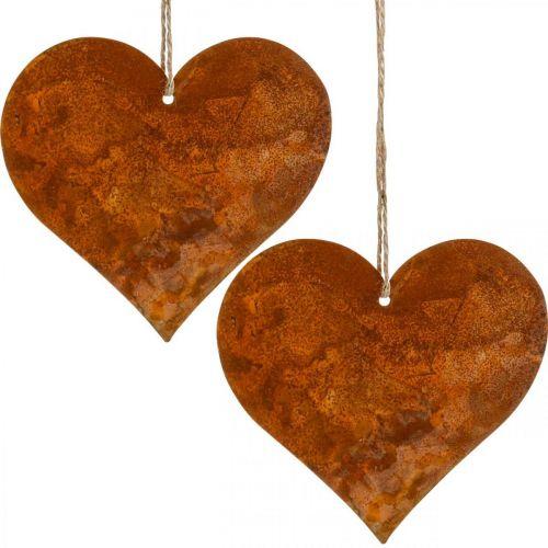 Coeurs décoratifs en métal, décorations d'automne, pendentifs décoratifs, acier inoxydable 14 × 15cm 6pcs