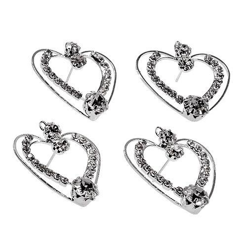 Cœurs métalliques en argent 3cm 6P