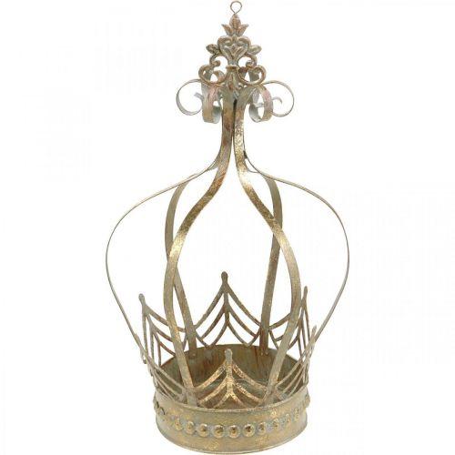 Couronne décorative à accrocher, jardinière, décoration métal, Avent doré, aspect antique Ø19.5cm H35cm