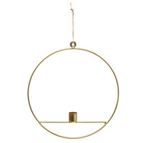 Bougeoir à suspendre anneau décoratif en métal doré Ø25cm 3pcs