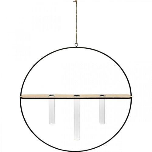 Anneau décoratif à accrocher avec des verres en métal noir Ø35cm