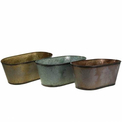 Cache-pot décoratif à feuilles ovale zinc gris métallisé, orange, marron 38 × 20cm H15cm 3pcs