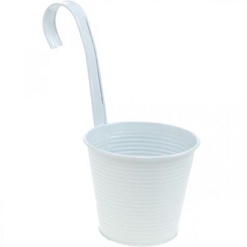 Jardinière, pot de fleur à suspendre, décoration florale, pot suspendu blanc Ø13,5cm