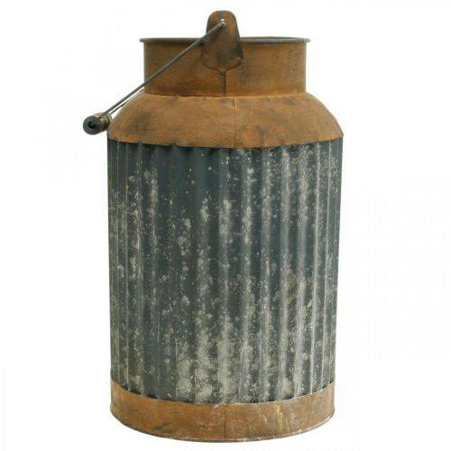 Pot à lait déco vintage look jardinière en métal décoration de jardin H35cm
