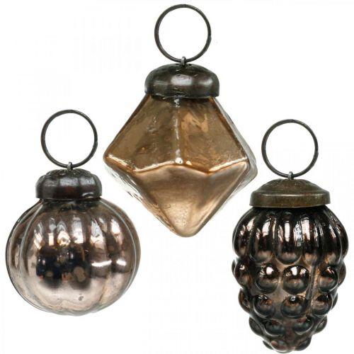 Mini boules de Noël, diamant / boule / cône, pendentifs en verre mix aspect antique Ø3–3,5cm H4,5–5,5cm 9pcs