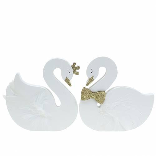 Cygnes décoratifs mariage bois or blanc 12x13cm 2pcs