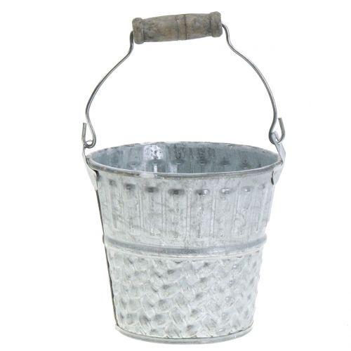 Seaux en zinc avec motif tressé gris, blanchi Ø 14 cm H. 13 cm 4 p.