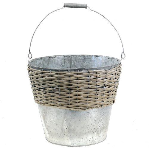Seau en zinc avec tressage en osier Ø 32 cm H. 27,5 cm