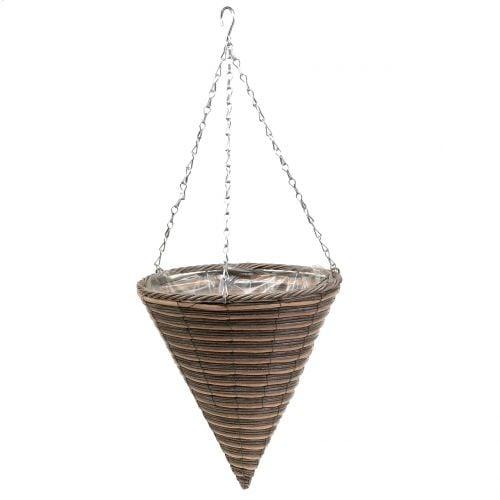 Lampe corbeille cone naturel Ø30cm H36cm