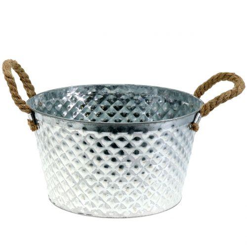 Bol rond en zinc avec anses en corde Ø28cm H16cm