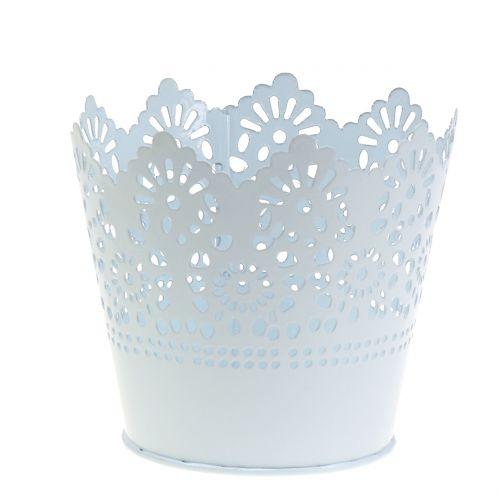 Pot en zinc avec bord dentelé blanc Ø 12 cm H. 10 cm