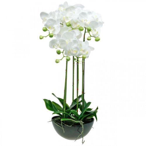 Orchidées artificielles en pot plante artificielle blanche 63cm