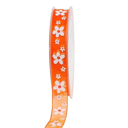 Ruban en organza orange avec motif à fleurs 15 mm 20 m