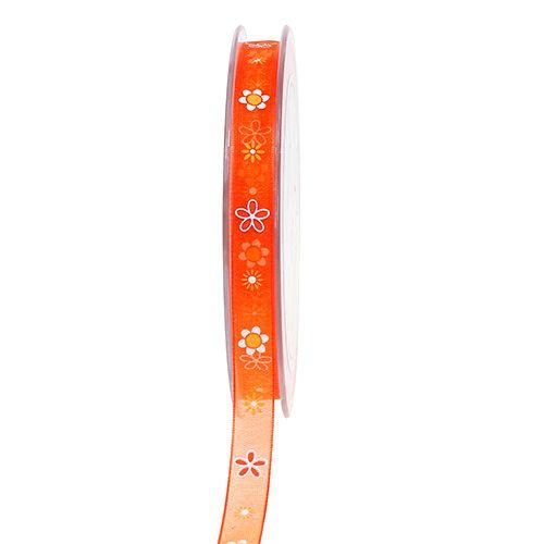 Ruban en organza orange avec motif 10 mm 20 m