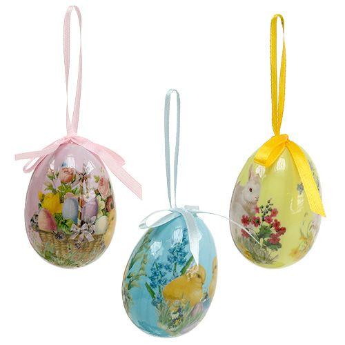 Œufs de Pâques à suspendre couleurs assorties 7 cm 6 p.