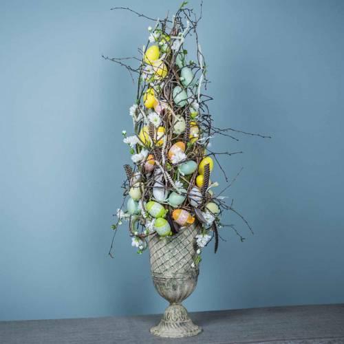 Oeufs de Pâques à suspendre vert, blanc, jaune 6cm 12pcs