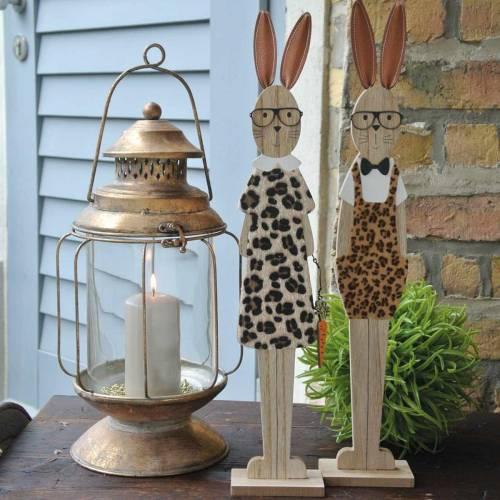 Lapin de Pâques, peau de léopard et verres en bois A décoration de Pâques, lot de 2