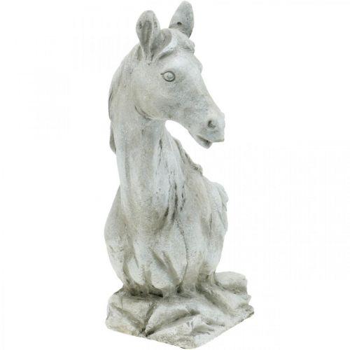 Tête de cheval buste déco figure cheval en céramique blanc, gris H31cm