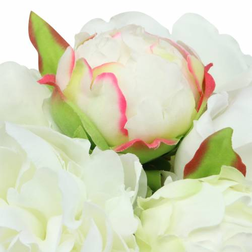 Bouquet de pivoines blanc / rose 27cm 6pcs