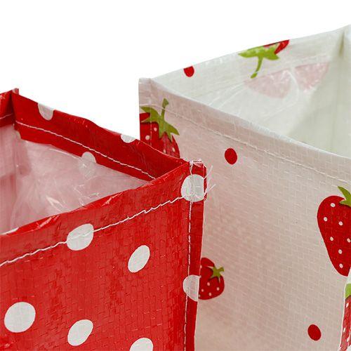 Box pour plantes rouge/blanche 10x10cm lot de 8 pièces