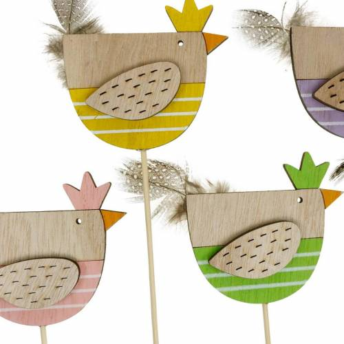 Bouchon de plante poulet décoration colorée bouchon poule en bois décoration de Pâques 14 pièces