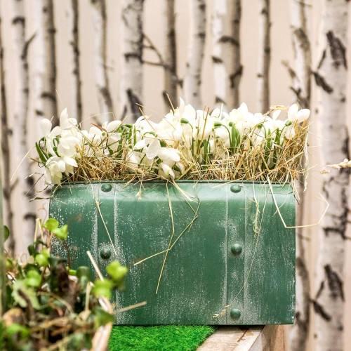Jardinière avec anse métal vert, blanchi blanc H20cm