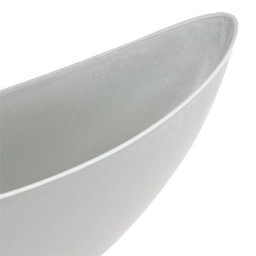 Bol déco 39cm x 12,5cm H13cm gris clair, 1pc