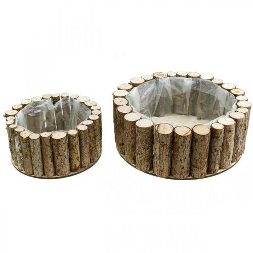Jardinière ronde décoration bois écorce Ø34/24cm lot de 2