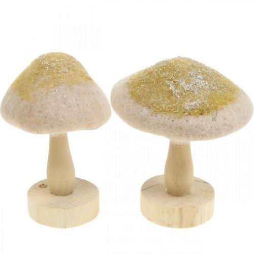 Bois de champignon décoratif, feutre à paillettes, décoration de table Avent H11cm