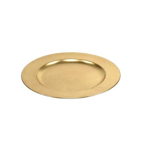 Assiette en plastique 25cm or avec effet feuille d'or