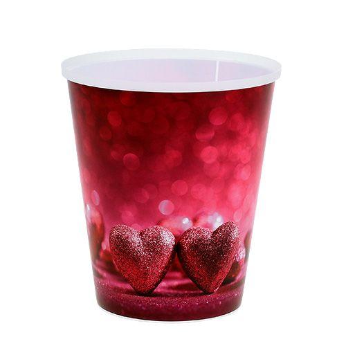 Pot en plastique avec coeur rose Ø12cm H13,5cm 1pc