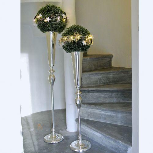 Vase flûte argenté Ø 15 cm H. 75 cm